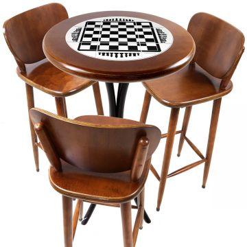 Mesa para sacada gourmet redonda alta com 3 lugares Tabuleiro de Xadrez - Empório Tambo
