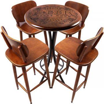 Mesa Pequena com 4 banquetas redonda para cozinha Beer Happy Hour - Empório Tambo