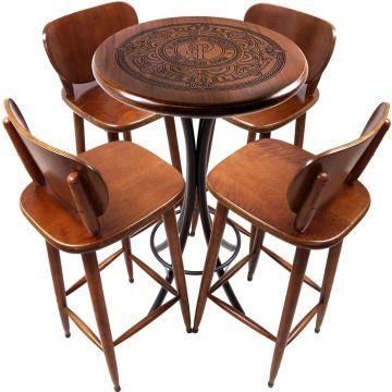 Mesa Pequena com 4 banquetas redonda para cozinha Pilsner - Empório Tambo