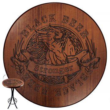 Mesa redonda de madeira para bar alta Black Beer - Empório Tambo