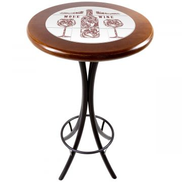 Mesa alta de bar redonda em madeira More Wine - Empório Tambo