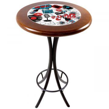Mesa alta de bar redonda em madeira Oh My - Empório Tambo