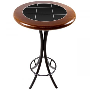Mesa alta de bar redonda em madeira Preto - Empório Tambo