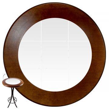 Mesa alta de bar redonda em madeira Branco - Empório Tambo