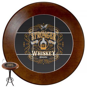 Mesa área gourmet alta redonda com 4 lugares Stronger Whiskey - Empório Tambo