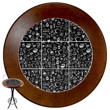 Mesa alta de bar redonda em madeira Textura Café - Empório Tambo