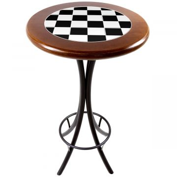 Mesa alta de bar redonda em madeira Textura Xadrez - Empório Tambo