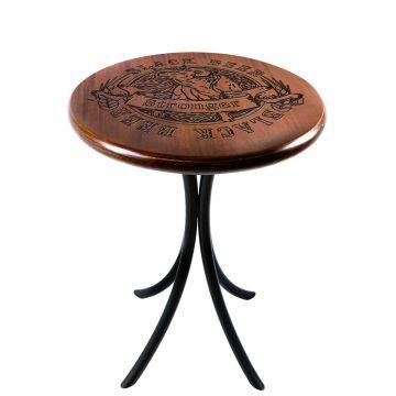 Mesa de canto redonda retro em madeira para sala Black Beer - Empório Tambo
