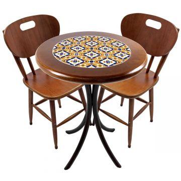 Mesa para apartamento pequeno com 2 cadeiras em madeira e azulejo Anos Dourados - Empório Tambo