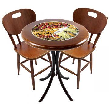 Mesa para apartamento pequeno com 2 cadeiras em madeira e azulejo Beer Stay Happy - Empório Tambo
