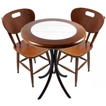 Mesa para apartamento pequeno com 2 cadeiras em madeira e azulejo Branco - Empório Tambo