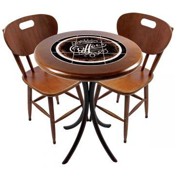 Mesa para apartamento pequeno com 2 cadeiras em madeira e azulejo Coffe - Empório Tambo