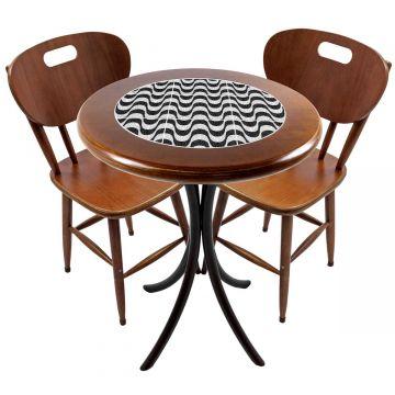 Mesa para apartamento pequeno com 2 cadeiras em madeira e azulejo Copacabana - Empório Tambo