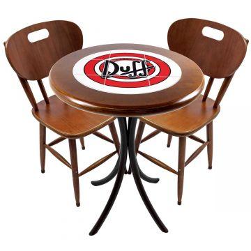 Mesa para apartamento pequeno com 2 cadeiras em madeira e azulejo Duff - Empório Tambo
