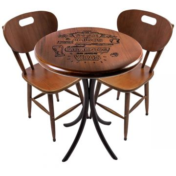 Mesa pequena para apartamento em madeira com 2 cadeiras Familia e amigos - Empório Tambo