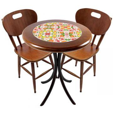 Mesa para apartamento pequeno com 2 cadeiras em madeira e azulejo Frutas - Empório Tambo