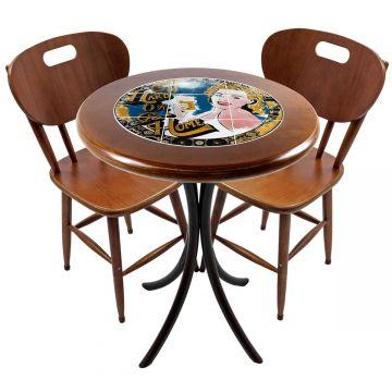 Mesa para apartamento pequeno com 2 cadeiras em madeira e azulejo Go hard or Go Home - Empório Tambo