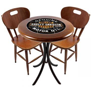 Mesa para apartamento pequeno com 2 cadeiras em madeira e azulejo Harley Davidson Genuine - Empório Tambo