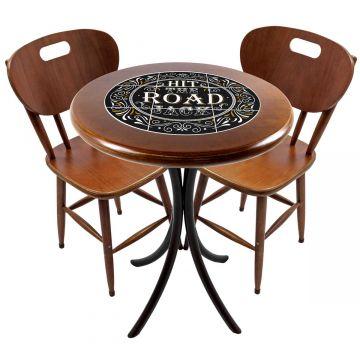 Mesa para apartamento pequeno com 2 cadeiras em madeira e azulejo Hit the Road Jack - Empório Tambo