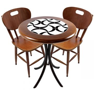 Mesa para apartamento pequeno com 2 cadeiras em madeira e azulejo Luar - Empório Tambo