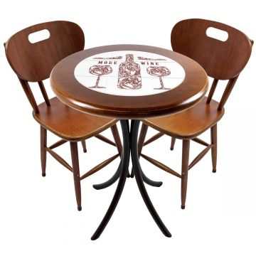 Mesa para apartamento pequeno com 2 cadeiras em madeira e azulejo More Wine - Empório Tambo