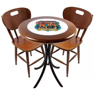 Mesa para apartamento pequeno com 2 cadeiras em madeira e azulejo Motorcycle - Empório Tambo