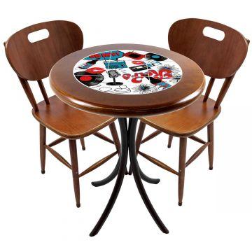 Mesa para apartamento pequeno com 2 cadeiras em madeira e azulejo Oh My - Empório Tambo