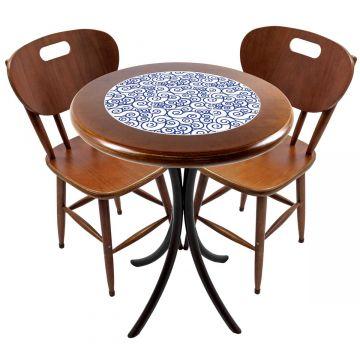 Mesa para apartamento pequeno com 2 cadeiras em madeira e azulejo Ondulação - Empório Tambo