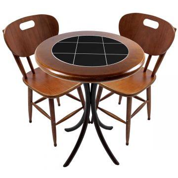 Mesa para apartamento pequeno com 2 cadeiras em madeira e azulejo Preto - Empório Tambo