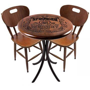 Mesa pequena para apartamento em madeira com 2 cadeiras Stronger Whiskey - Empório Tambo