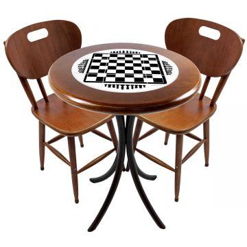 Mesa para apartamento pequeno com 2 cadeiras em madeira e azulejo Tabuleiro de Xadrez - Empório Tambo