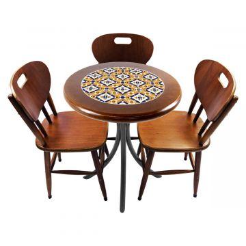 Mesa para café escritório recepção com 3 cadeiras Anos Dourados - Empório Tambo