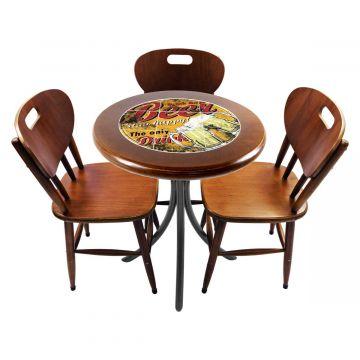 Mesa para café escritório recepção com 3 cadeiras Beer Stay Happy - Empório Tambo