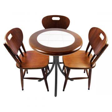 Mesa para café escritório recepção com 3 cadeiras Branco - Empório Tambo