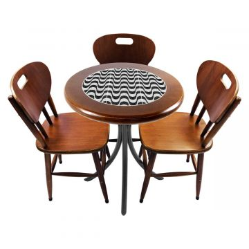 Mesa para café escritório recepção com 3 cadeiras Copacabana - Empório Tambo