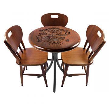 Mesa para lanchonete com 3 cadeiras Familia e amigos - Empório Tambo