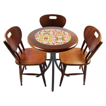 Mesa para café escritório recepção com 3 cadeiras Frutas - Empório Tambo