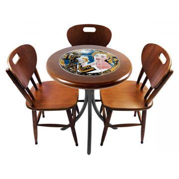 Mesa para café escritório recepção com 3 cadeiras Go hard or Go Home - Empório Tambo