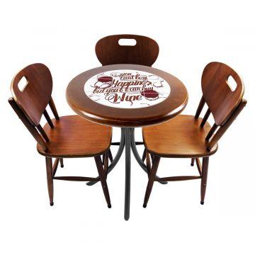 Mesa para café escritório recepção com 3 cadeiras Happiness - Empório Tambo
