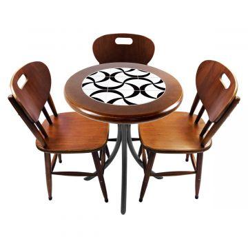 Mesa para café escritório recepção com 3 cadeiras Luar - Empório Tambo
