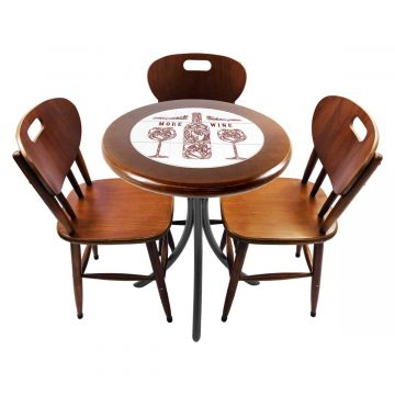 Mesa para café escritório recepção com 3 cadeiras More Wine - Empório Tambo