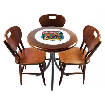 Mesa para café escritório recepção com 3 cadeiras Motorcycle - Empório Tambo