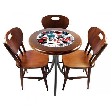 Mesa para café escritório recepção com 3 cadeiras Oh My - Empório Tambo