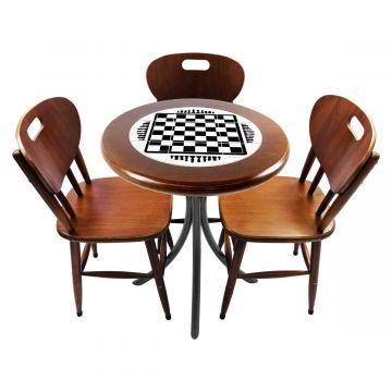 Mesa para café escritório recepção com 3 cadeiras Tabuleiro de Xadrez - Empório Tambo