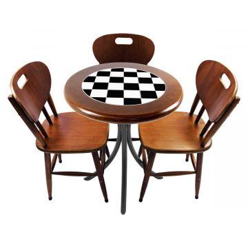 Mesa para café escritório recepção com 3 cadeiras Textura Xadrez - Empório Tambo