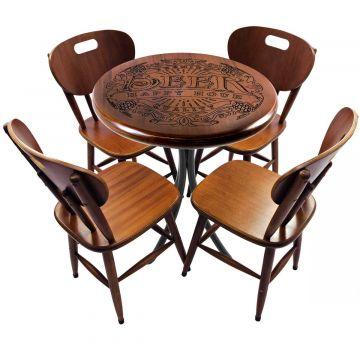 Mesa de madeira com 4 cadeiras Beer Happy Hour - Empório Tambo