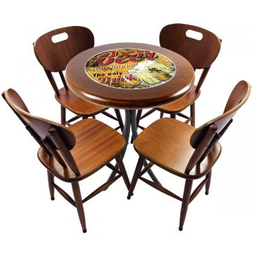 mesa redonda 4 cadeiras madeira maciça bar e lanchonete Beer Stay Happy - Empório Tambo