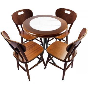 Mesa redonda 4 cadeiras madeira maciça bar e lanchonete Branco - Empório Tambo