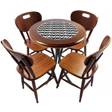 mesa redonda 4 cadeiras madeira maciça bar e lanchonete Copacabana - Empório Tambo
