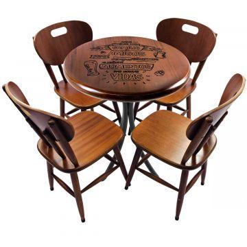 Mesa de madeira com 4 cadeiras Familia e amigos - Empório Tambo